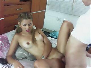 Trans Bombshell Fucking A Young Slut On Webcam
