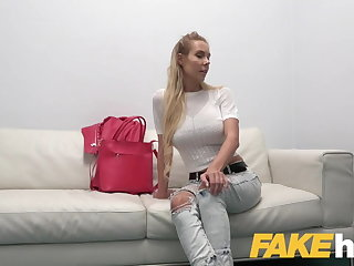 Saggy Tits Fake Agent Busty czech babe loves fingering and fucking