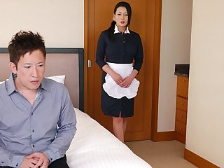 Vintage Japanese maid, Rei Kitajima is fucking a horny client, uncen