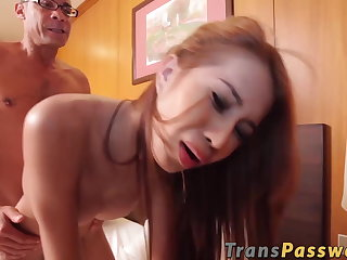 Outdoor Ginger ladyboy with big tits rides big fat dick