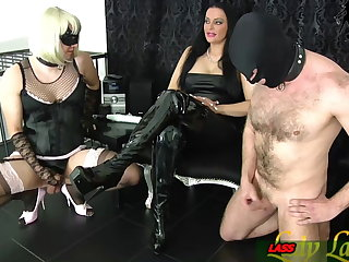 Ballbusting Slave and tranny masturbation contest for german domina
