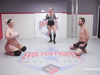 Ballbusting Alura Jenson kicks opponent in balls in nude wrestling
