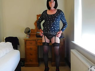 Striptease Sissy crossdresser spoiled cumshot