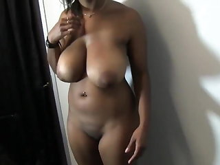 Ballbusting amateur busty ebony fucks her man in the office