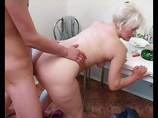 Russian Russian mom Lena alternates between young cunt hunters