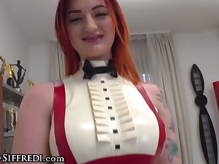 Pantyhose Hot Redhead in Latex Zara DuRose Offers a Solo Anal Casting