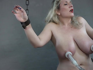 Sybian Big tits milked on the sybian