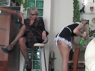 Cougars Mature blonde fucks young maid with strapon